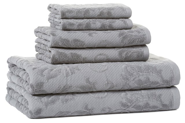 6-Pc Parisian Towel Set, Gray