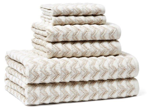 6-Pc Portofino Towel Set, Latte