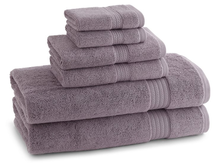 S/6 Egyptian Towel Set, Lavender