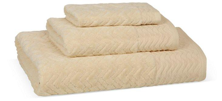 3-Pc Milan Towels, Ecru