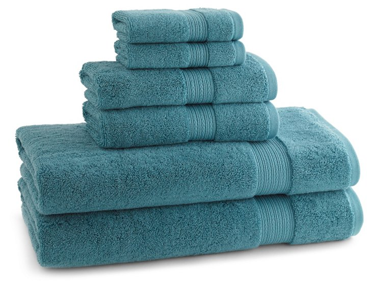 S/6 Egyptian Towel Set, Mineral Blue