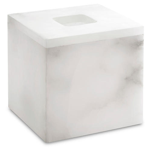 Alabaster Tissue Holder, White
