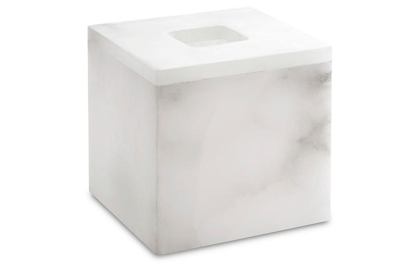 Alabaster Tissue Holder, White