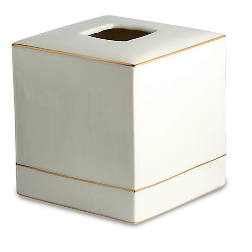 St. Honore Tissue Holder, White/Gold