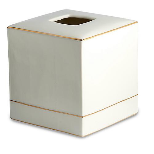 St. Honore Tissue Holder, White/Gold