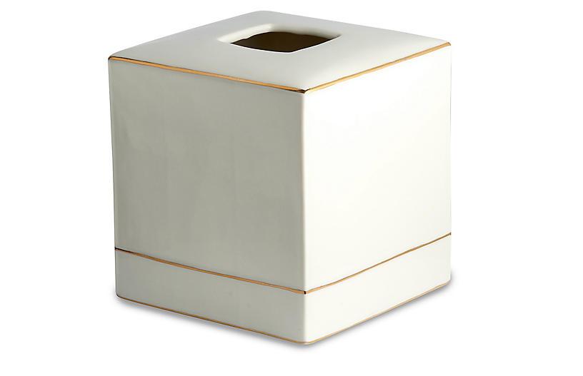 St. Honore Tissue Holder, Cream/Gold