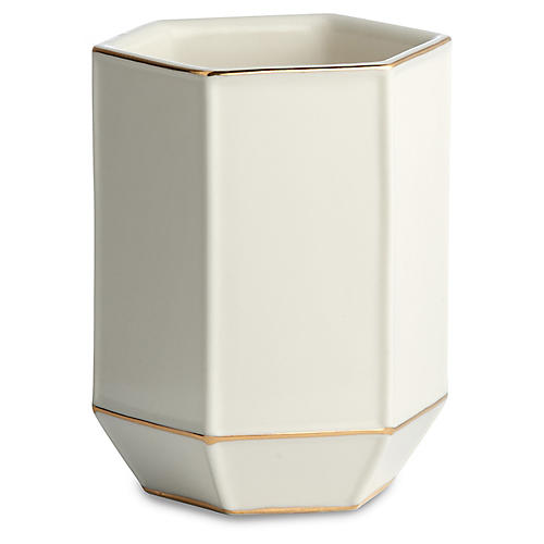 St. Honore Tumbler, White/Gold