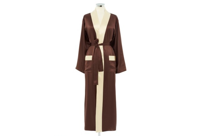 Small Kumi Robe, Chocolate/Ivory