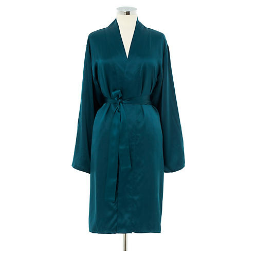 Kumi Short Robe, Peacock/Smoke