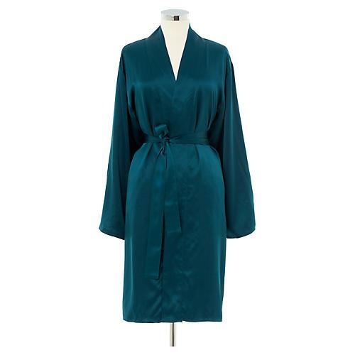 Kumi Short Robe, Peacock/Smoke