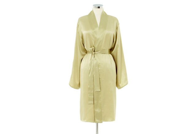 Kumi Short Robe, Sage/Ivory