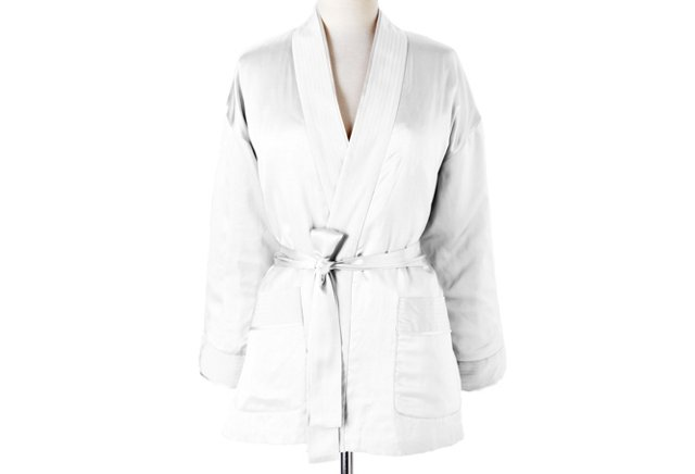 Large Milan Short Robe, White