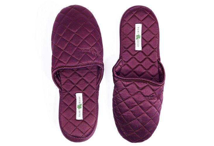 Medium Silk Slippers, Merlot