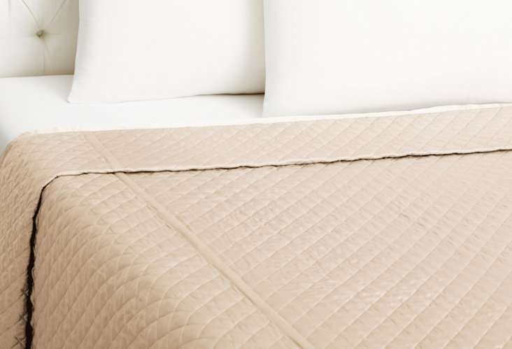 Throw Quilted Coverlet, Ivory