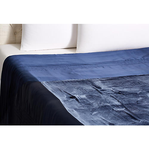 Silk Velvet Throw, Navy