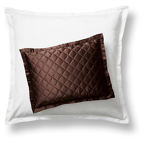 Quilted Boudoir Sham, Chocolate