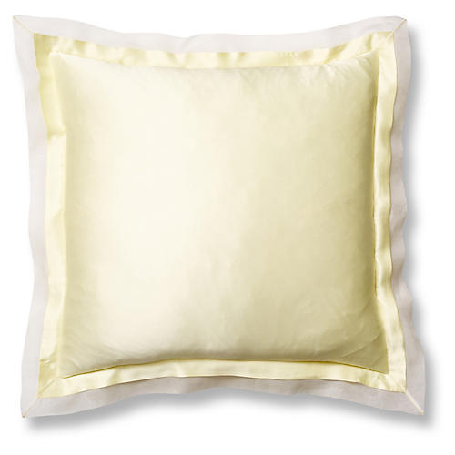 Organza Euro Sham, Lemon/White