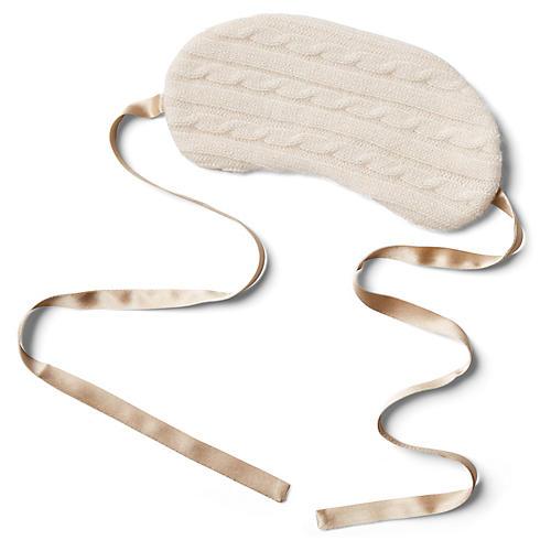 Cashmere Silk-Filled Eye Mask, Ivory