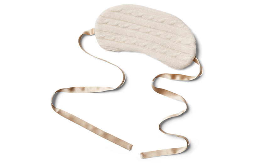 Cashmere Silk-Filled Eye Mask, Ivory