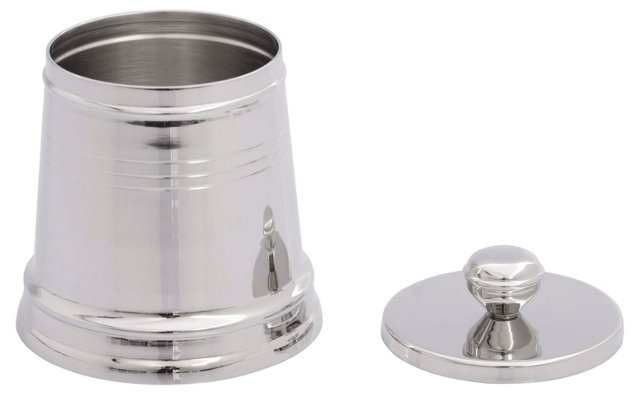 Hotel Stripe Lidded Canister, Silver