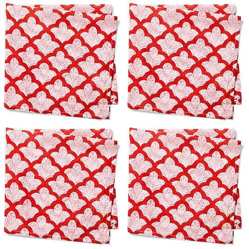 S/4 Jemina Dinner Napkins, Red/White