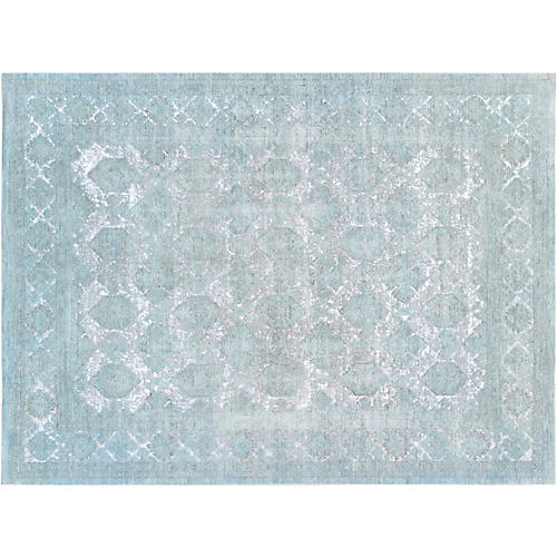 "9'1""x12'1"" Overdyed Hand-Knotted Rug, Turquoise"