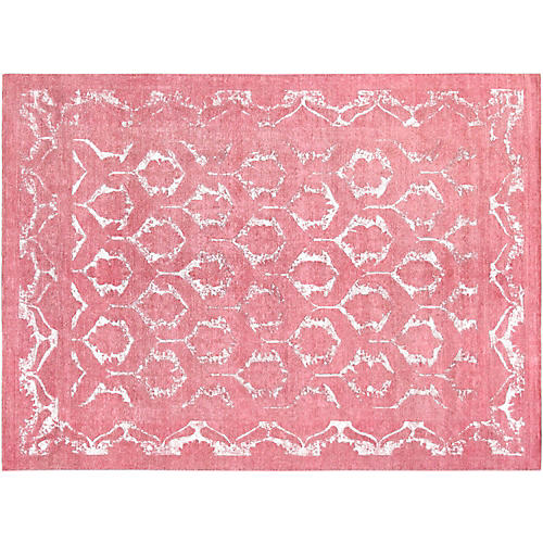 "8'8""x11'11"" Overdyed Hand-Knotted Rug, Coral"