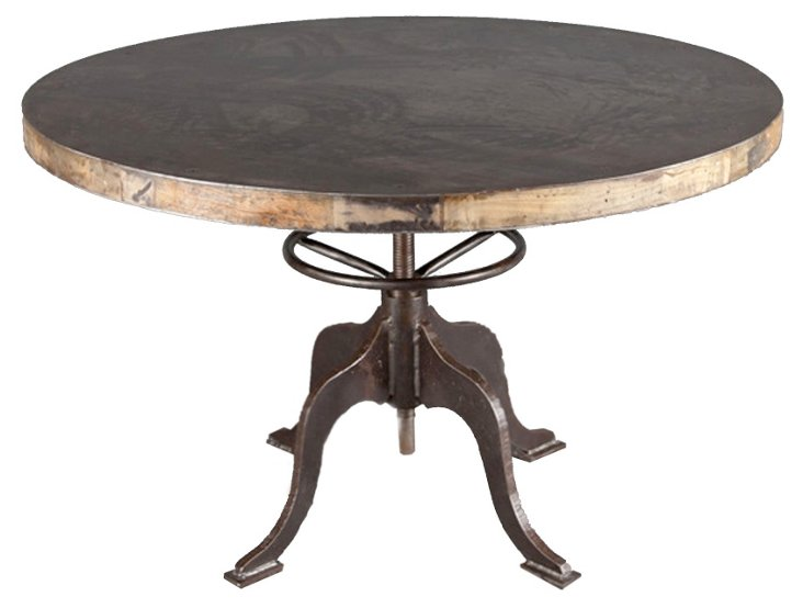 Round Industrial Steel & Wood Table