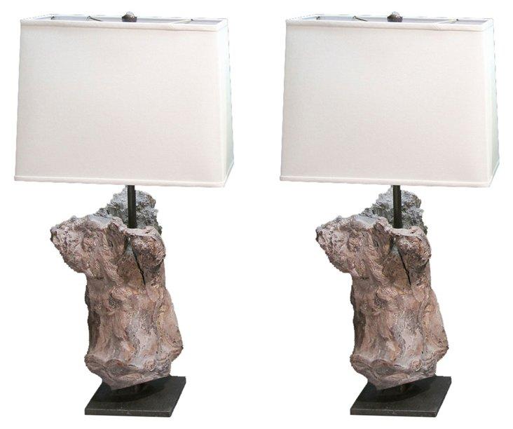 Petrified Wood Base Lamps, Pair