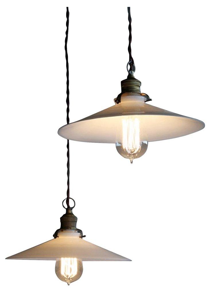 Porcelain Pulley Lamps, Pair