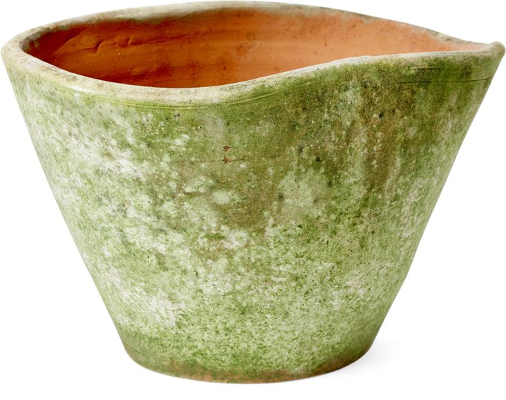 "6"" Aged Terracotta Undulated Pot"