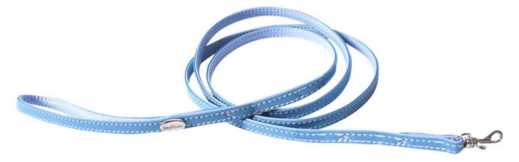 Teacup Calfskin Leash, Tiffany Blue