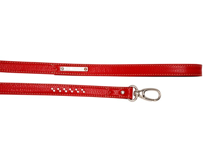 Flat Leash w/ Crystals, Red