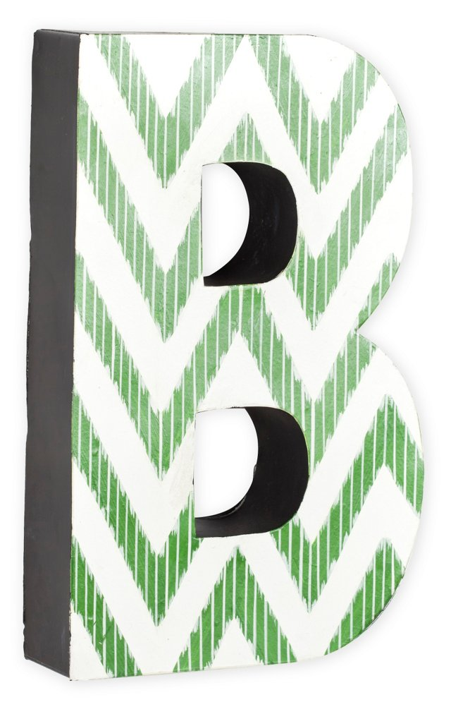 Letter, Green Zigzag Chevron
