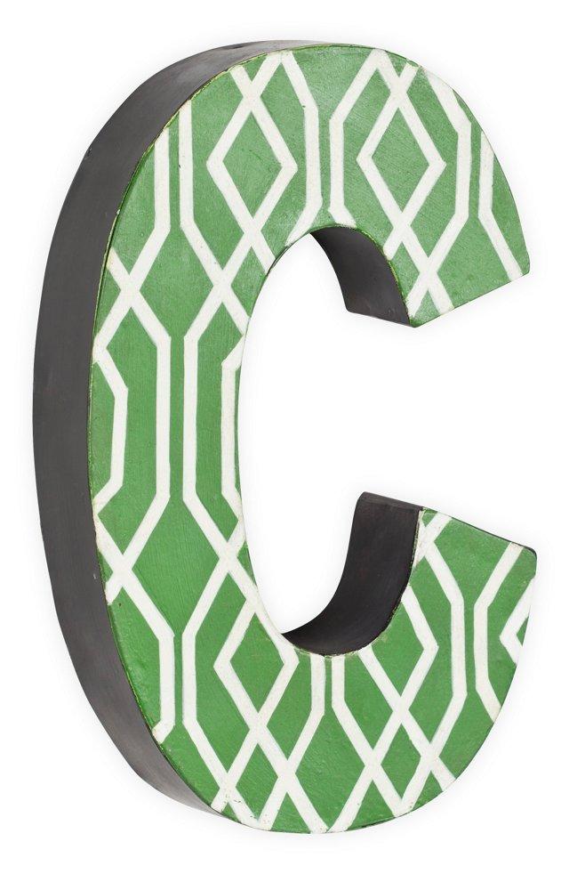 Letter, Green Geometric