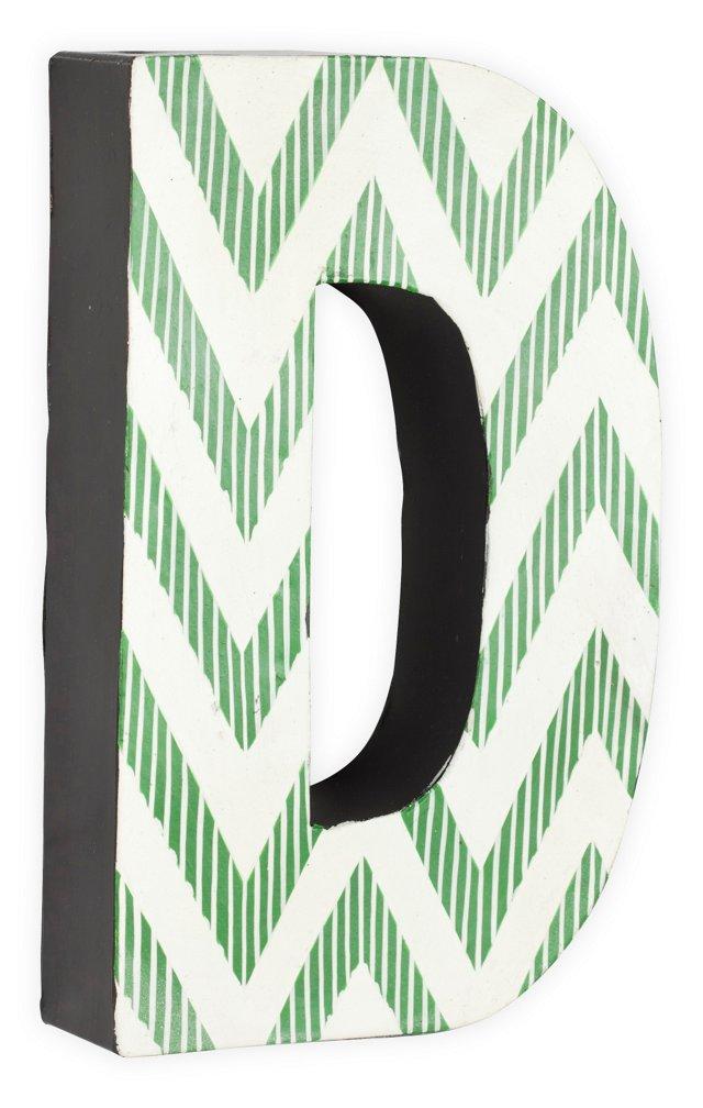 Letter D, Green Zigzag Chevron