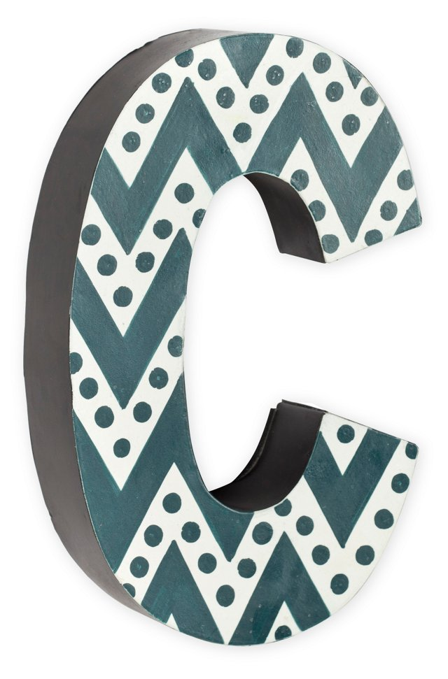 Gray Zigzag Chevron With Dots Letter