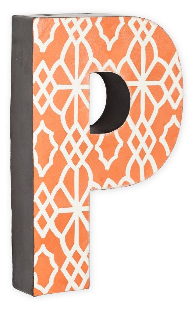 Letter P, Orange Geometric