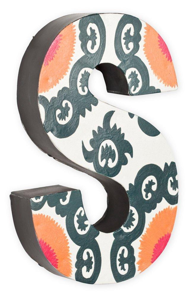 Letter S, Gray, Orange,  Fuchsia Pattern