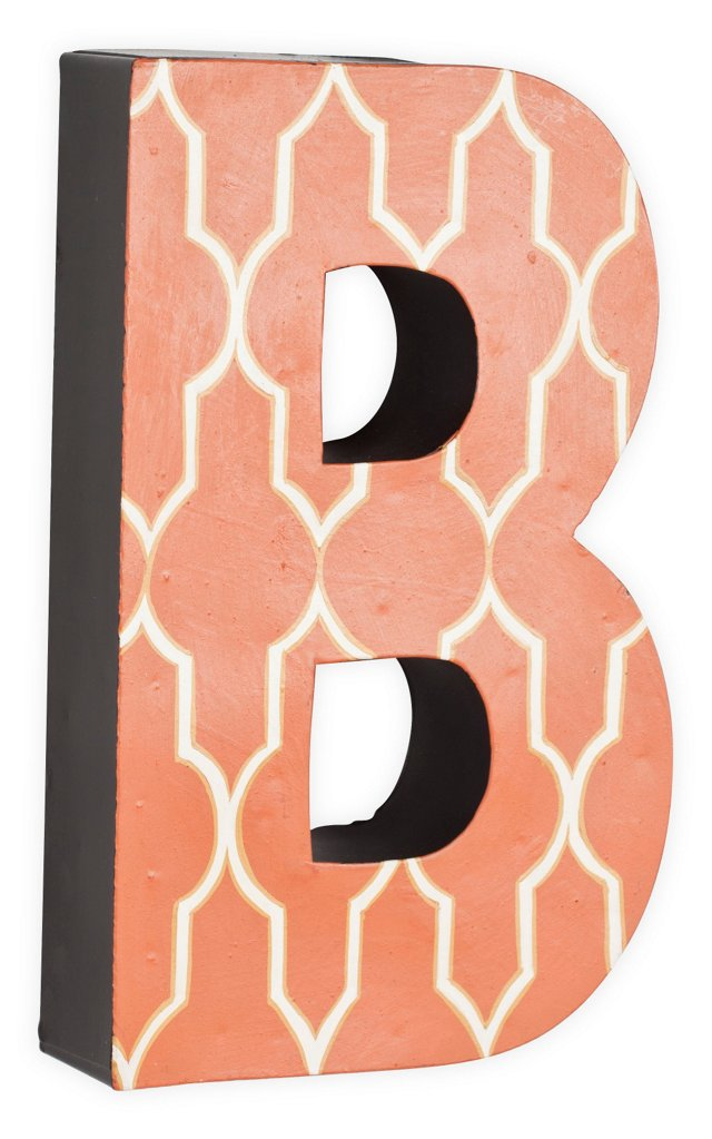 Letter B, White Quatrefoil On Orange