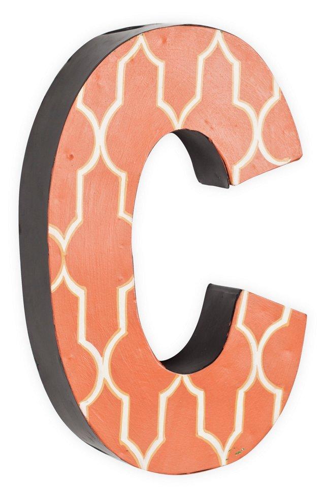 Letter C, White Quatrefoil On Orange