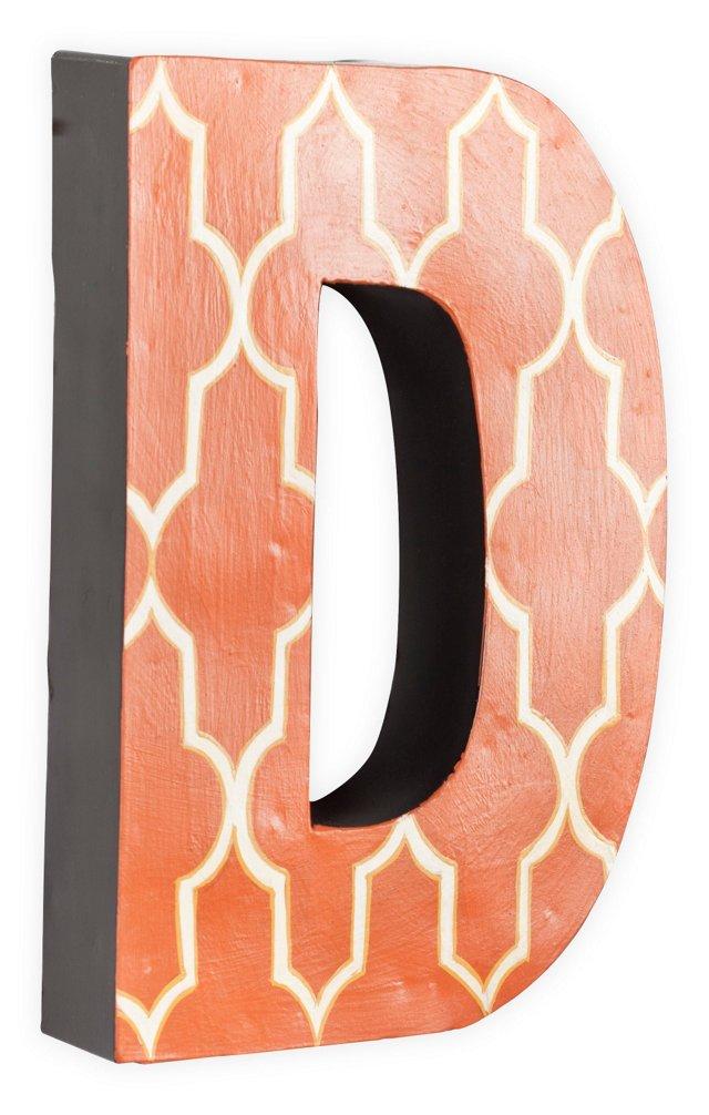 Letter D, White Quatrefoil On Orange