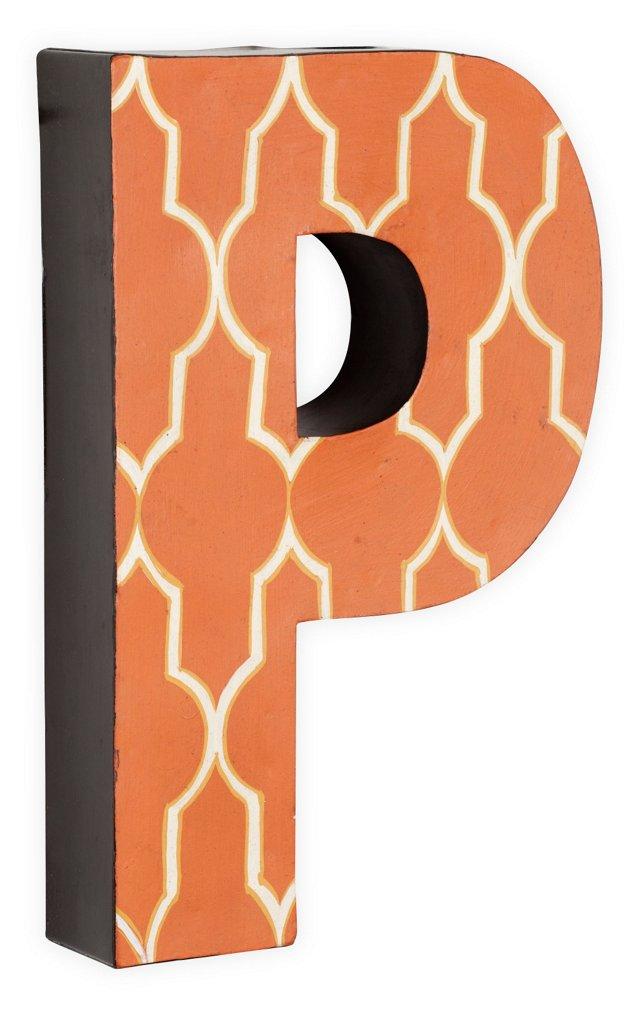 Letter P, White Quatrefoil On Orange