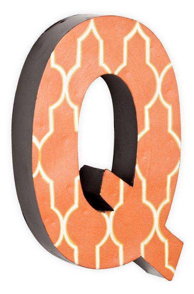 Letter Q, White Quatrefoil On Orange