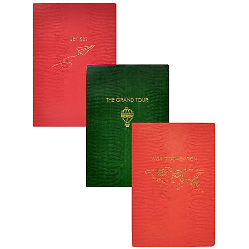 Asst. of 3 Travel Journals, Red/Green