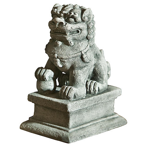 "8"" Right Facing Temple Foo Dog, Gray"