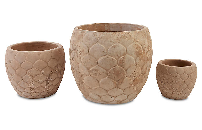 Asst. of 3 Pina Planters, Antiqued Terracotta