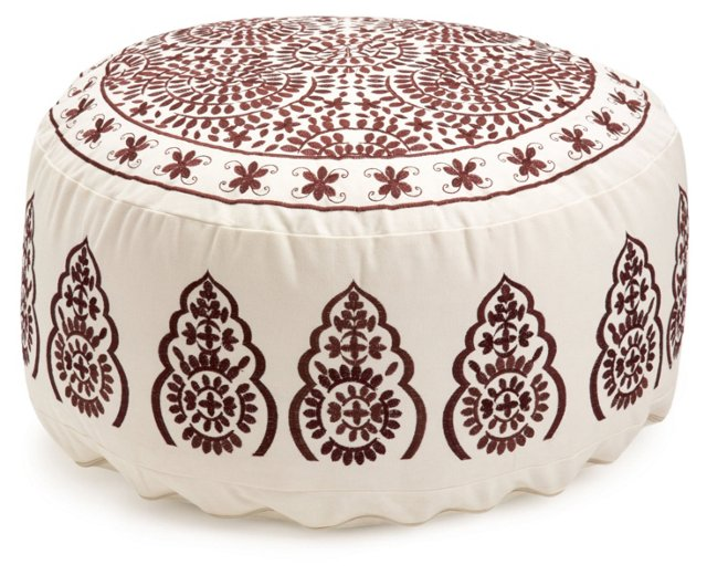 Ella Large Embroidered Pouf, Ivory