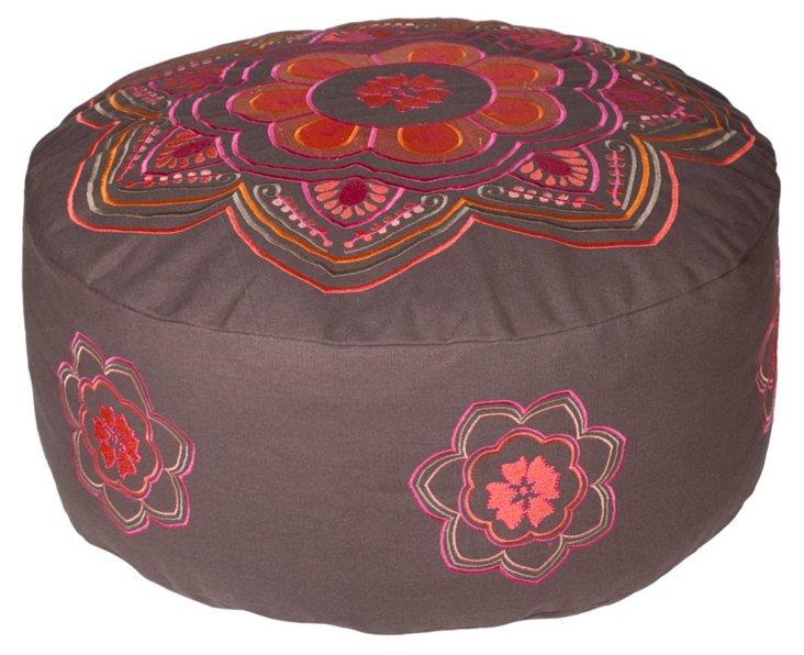 Ella Embroidered Floor Pouf, Brown/Pink