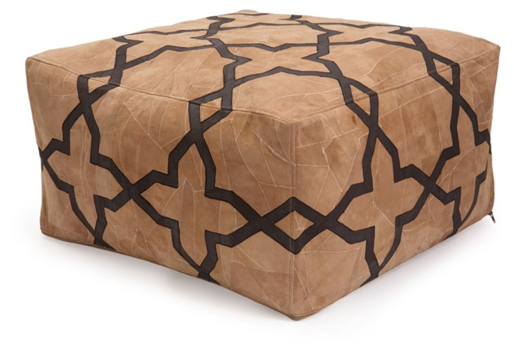 Suede Floor Pouf, Tan/Chocolate